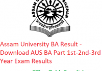 Assam University BA Result 2020 - Download AUS BA Part 1st-2nd-3rd Year Exam Results