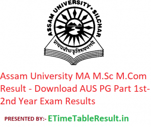 Assam University MA M.Sc M.Com Result 2020 - Download AUS PG Part 1st-2nd Year Exam Results