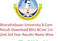 Bharathidasan University B.Com Result 2020 - Download BDU BCom 1st-2nd-3rd Year Results Name Wise