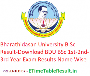 Bharathidasan University B.Sc Result 2020 - Download BDU BSc 1st-2nd-3rd Year Exam Results Name Wise