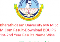 Bharathidasan University MA M.Sc M.Com Result 2020 - Download BDU PG 1st-2nd Year Exam Results Name Wise