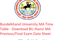 Bundelkhand University MA Time Table 2020 - Download BU Jhansi MA Previous/Final Exam Date Sheet