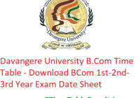 Davangere University B.Com Time Table 2020 - Download BCom 1st-2nd-3rd Year Exam Date Sheet