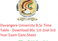 Davangere University B.Sc Time Table 2020 - Download BSc 1st-2nd-3rd Year Exam Date Sheet