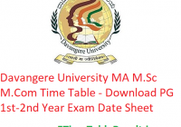Davangere University MA M.Sc M.Com Time Table 2020 - Download PG 1st-2nd Year Exam Date Sheet