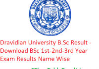 Dravidian University B.Sc Result 2020 - Download BSc 1st-2nd-3rd Year Exam Results Name Wise