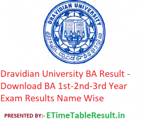 Dravidian University BA Result 2020 - Download BA 1st-2nd-3rd Year Exam Results Name Wise