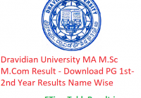 Dravidian University MA M.Sc M.Com Result 2020 - Download PG 1st-2nd Year Exam Results Name Wise