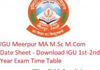 IGU Meerpur MA M.Sc M.Com Date Sheet 2020 - Download IGU 1st-2nd Year Exam Time Table