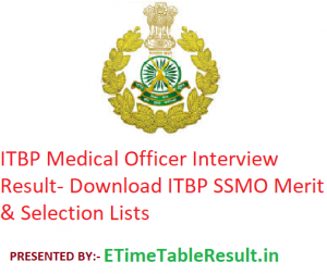 ITBP Medical Officer Interview Result 2019 - Download ITBP SSMO Merit & Selection Lists