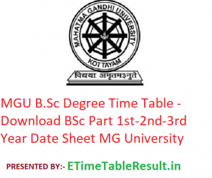 MGU B.Sc Degree Time Table 2020 - Download BSc Part 1st-2nd-3rd Year Date Sheet Mahatma Gandhi University