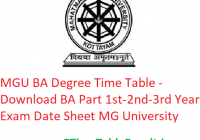 MGU BA Degree Time Table 2020 - Download BA Part 1st-2nd-3rd Year Exam Date Sheet Mahatma Gandhi University