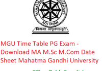 MGU Time Table 2020 PG Exam - Download MA M.Sc M.Com Date Sheet Mahatma Gandhi University