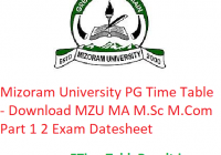 Mizoram University PG Time Table 2020 - Download MZU MA M.Sc M.Com Part 1 2 Exam Datesheet