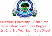 Palamuru University B.Com Time Table 2020 - Download BCom Degree 1st-2nd-3rd Year Exam Date Sheet