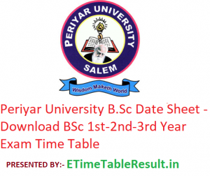 Periyar University B.Sc Date Sheet 2020 - Download BSc 1st-2nd-3rd Year Exam Time Table