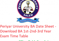 Periyar University BA Date Sheet 2020 - Download BA 1st-2nd-3rd Year Exam Time Table