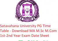 Satavahana University PG Time Table 2020 - Download MA M.Sc M.Com 1st-2nd Year Exam Date Sheet