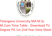 Telangana University MA M.Sc M.Com Time Table 2020 - Download TU Degree PG 1st-2nd Year Exam Date Sheet