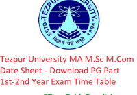 Tezpur University MA M.Sc M.Com Date Sheet 2020 - Download PG Part 1st-2nd Year Exam Time Table