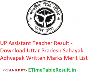 UP Assistant Teacher Result 2019 - Download Uttar Pradesh Sahayak Adhyapak Written Marks Merit List