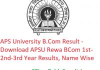 APS University B.Com Result 2020 - Download APSU Rewa BCom Part 1st-2nd-3rd Year Exam Results, Name Wise