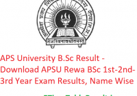 APS University B.Sc Result 2020 - Download APSU Rewa BSc Part 1st-2nd-3rd Year Exam Results, Name Wise