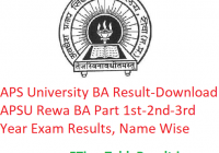 APS University BA Result 2020 - Download APSU Rewa BA Part 1st-2nd-3rd Year Exam Results, Name Wise