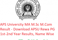 APS University MA M.Sc M.Com Result 2020 - Download APSU Rewa PG Part 1st-2nd Year Exam Results, Name Wise
