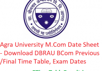 Agra University M.Com Date Sheet 2020 - Download DBRAU BCom Previous/Final Time Table, Exam Dates