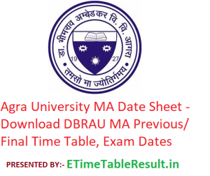 Agra University MA Date Sheet 2020 - Download DBRAU MA Previous/Final Time Table, Exam Dates