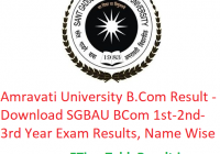 Amravati University B.Com Result 2020 - Download SGBAU BCom Part 1st-2nd-3rd Year Exam Results, Name Wise