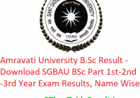 Amravati University B.Sc Result 2020 - Download SGBAU BSc Part 1st-2nd-3rd Year Exam Results, Name Wise