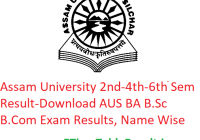 Assam University 2nd-4th-6th Semester Result 2020 - Download AUS BA B.Sc B.Com Exam Results, Name Wise