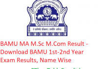 BAMU MA M.Sc M.Com Result 2020 - Download BAMU 1st-2nd Year Exam Results, Name Wise