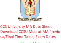 CCS University MA Date Sheet 2020 - Download CCSU Meerut MA Previous/Final Time Table, Exam Dates