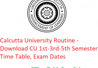 Calcutta University Routine 2019-20 - Download CU 1st-3rd-5th Semester Time Table, Exam Dates