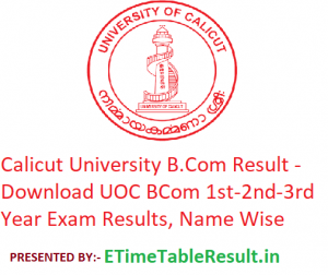 Calicut University B.Com Result 2020 - Download UOC BCom 1st-2nd-3rd Year Exam Results, Name Wise
