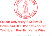 Calicut University B.Sc Result 2020 - Download UOC BSc 1st-2nd-3rd Year Exam Results, Name Wise