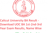 Calicut University BA Result 2020 - Download UOC BA 1st-2nd-3rd Year Exam Results, Name Wise