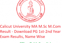 Calicut University MA M.Sc M.Com Result 2020 - Download PG 1st-2nd Year Exam Results, Name Wise