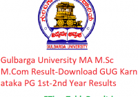 Gulbarga University MA M.Sc M.Com Result 2020 - Download GUG Karnataka PG 1st-2nd Year Exam Results