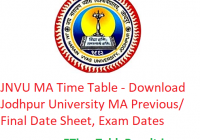 JNVU MA Time Table 2020 - Download Jodhpur University MA Previous/Final Date Sheet, Exam Dates