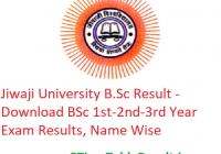 Jiwaji University B.Sc Result 2020 - Download BSc 1st-2nd-3rd Year Exam Results, Name Wise