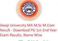 Jiwaji University MA M.Sc M.Com Result 2020 - Download PG 1st-2nd Year Exam Results, Name Wise