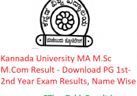 Kannada University MA M.Sc M.Com Result 2020 - Download PG 1st-2nd Year Exam Results, Name Wise
