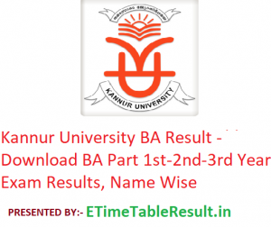 Kannur University BA Result 2020 - Download BA Part 1st-2nd-3rd Year Exam Results, Name Wise