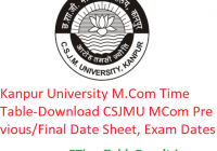 Kanpur University M.Com Time Table 2020 - Download CSJMU MCom Previous/Final Date Sheet, Exam Dates