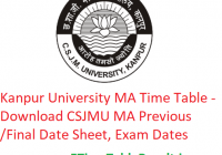 Kanpur University MA Time Table 2020 - Download CSJMU MA Previous/Final Date Sheet, Exam Dates