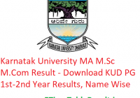 Karnatak University MA M.Sc M.Com Result 2020 - Download KUD PG 1st-2nd Year Exam Results, Name Wise
